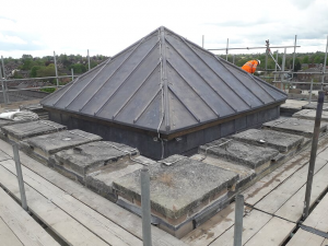 newly supported and lead covered Church tower roof